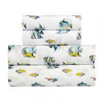 White Fish Print Microfiber Sheet Set