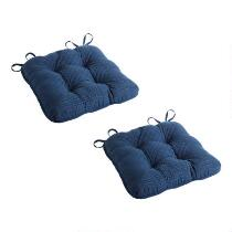 """16"""" Blue Quilted Seat Cushions, Set of 2"""