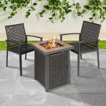 3-Piece Gas Firepit and Chair Set