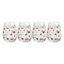16-oz. Palm Trees and Flamingos Stemless Wine Glasses, Set of 4