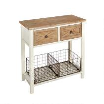 The Grainhouse™ 2-Drawer/2-Iron Basket Console Table