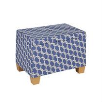 Dark Blue Coastal Knots Storage Ottoman
