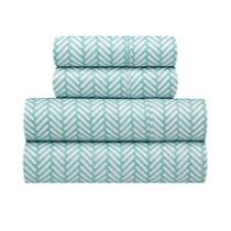 Richmond Teal/White Zigzag Microfiber Sheet Set