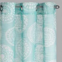 Seafoam Medallion Slub Window Curtains, Set of 2