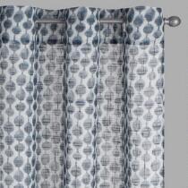 Dark Grey Linked Oval Slub Window Curtains, Set of 2