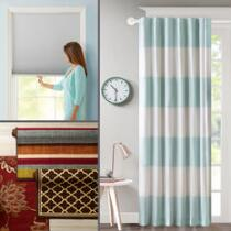 Area Rugs, Curtains, and Cordless Cellular Shades