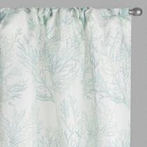 White Coastal Coral Window Curtains, Set of 2