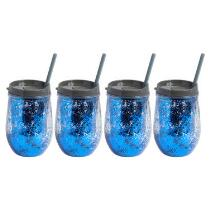 Blue/Gray Stemless Glittery Wine Cups, Set of 4