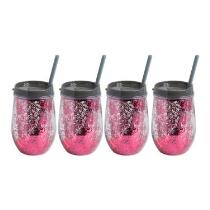 Pink/Gray Stemless Glittery Wine Cups, Set of 4