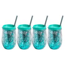 Green/Teal Stemless Glittery Wine Cups, Set of 4