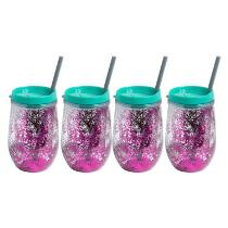 Purple/Teal Stemless Glittery Wine Cups, Set of 4