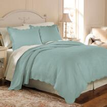 Solid Quilted Cotton Matelasse Coverlet Set
