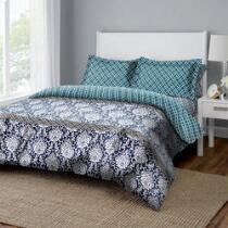 Dreamluxe Denim/Teal Floral Reversible Complete Bed Set