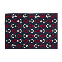 7'x10' Red/Blue Anchor Print Indoor/Outdoor Area Rug