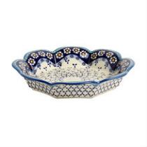48-Oz. Polish Pottery Blue/White Flowers and Dots Fluted Fruit Bowl