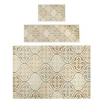 Beige Tile Printed Rug Set, 3-Piece