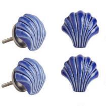 Coastal Shell Ceramic Drawer Pulls, Set of 4