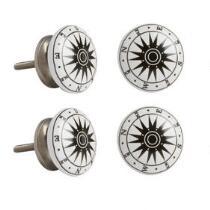 Nautical Compass Ceramic Drawer Pulls, Set of 4