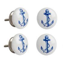 Nautical Anchor Ceramic Drawer Pulls, Set of 4