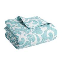 Light Blue Scroll Pattern Pinsonic Stitched Bedspread