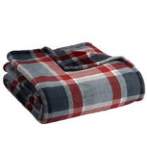 Famous Maker Red/Gray Plaid Solid Plush Throw Blanket
