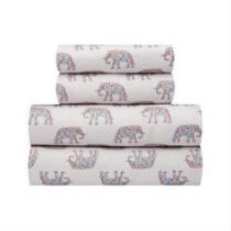 Rainbow Elephant White Sheet Set