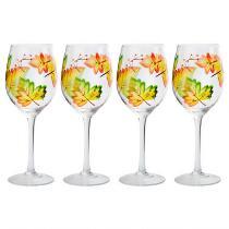 14-Oz. Autumn Leaves Wine Glasses, Set of 4