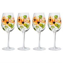 14-Oz. Sunflowers and Leaves Wine Glasses, Set of 4