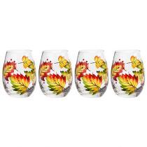 20-Oz. Autumn Leaves Stemless Wine Glasses, Set of 4