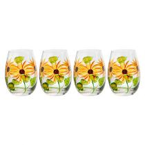 20-Oz. Sunflowers and Leaves Stemless Wine Glasses, Set of 4