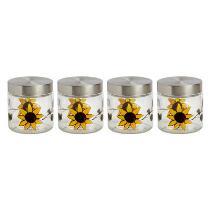 """5.5"""" Farm Sunflower Hand-Painted Jars, Set of 4"""