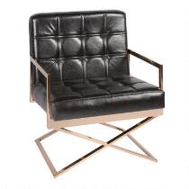 Black Tufted Faux Leather Arm Chair