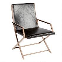 Black Sleek Faux Leather Arm Chair