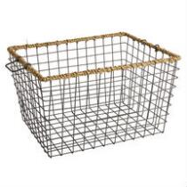 Farm Metal Wire Storage Basket with Water Hyacinth Wrapping
