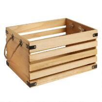 Farm Slatted Brown Wood Crate with Rope Handles