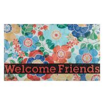 """Welcome Friends"" Floral Stain-Resistant Door Mat"
